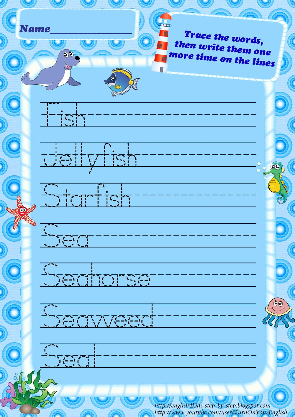 Beautiful Ocean Animals Trace Words Worksheets For Kids Sea ...