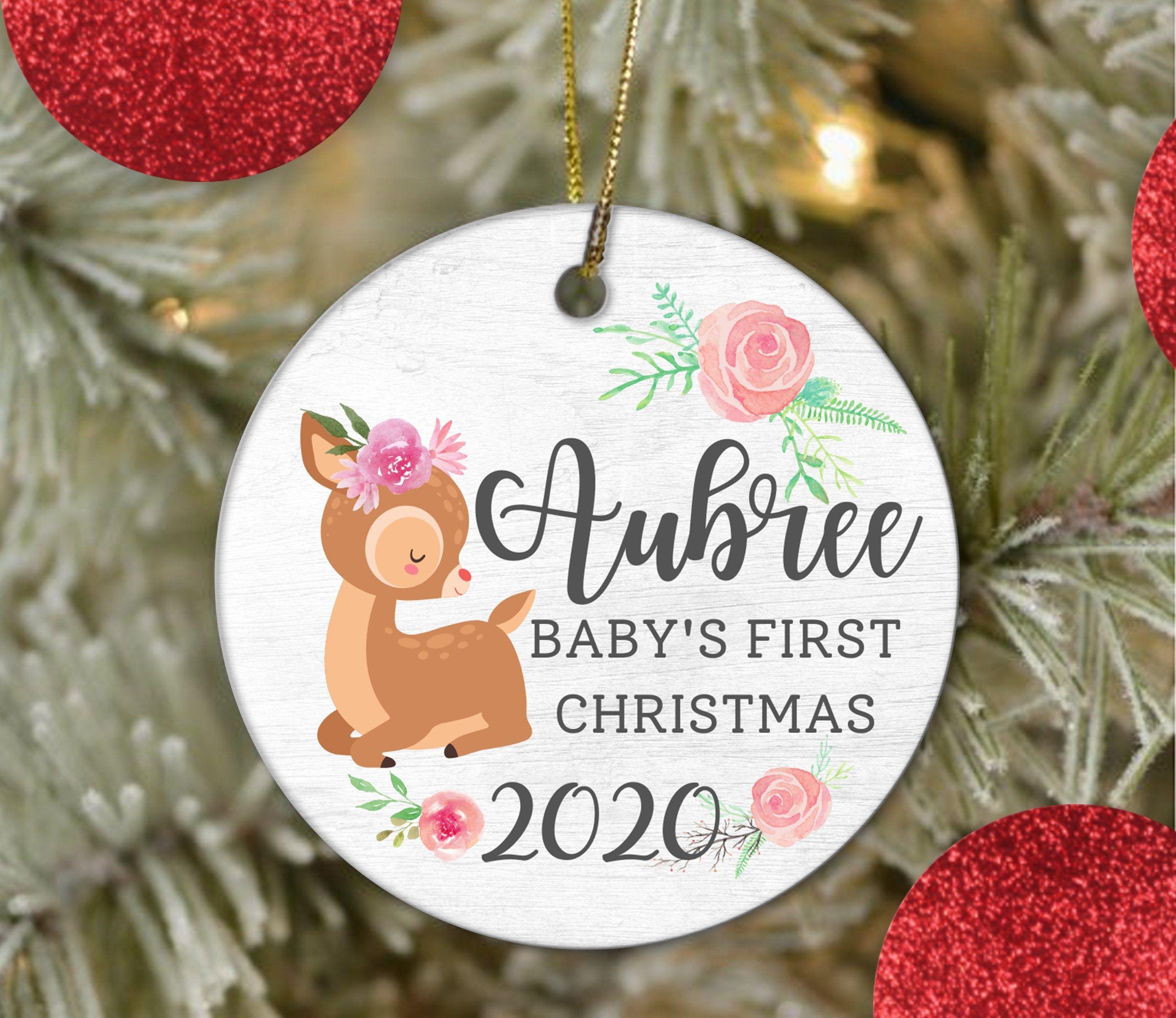 Baby S First Christmas Ornament Baby Deer Boho Personalized Baby Ornament 2 Babies First Christmas First Christmas Ornament Christmas Ornaments To Make