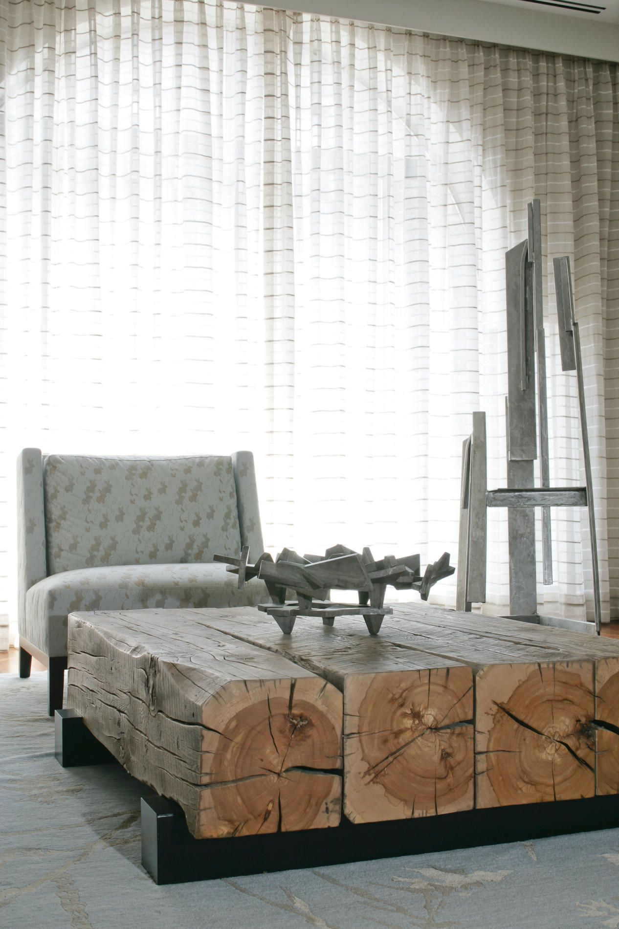 Modern Rustic Living Room: Wood Beam Coffee Table Guess I Wouldnu0027t Be  Rearranging Every Month!