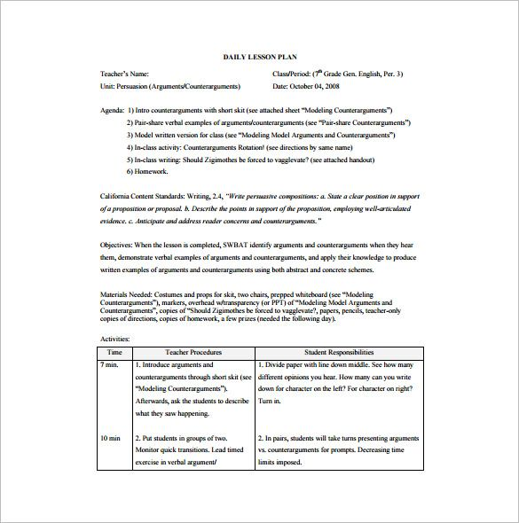 Daily Lesson Plan Template \u2013 12+ Free Sample, Example, Format