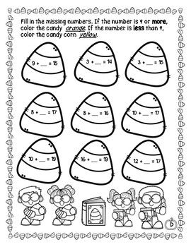 Halloween Addition Subtraction within 20 Worksheets