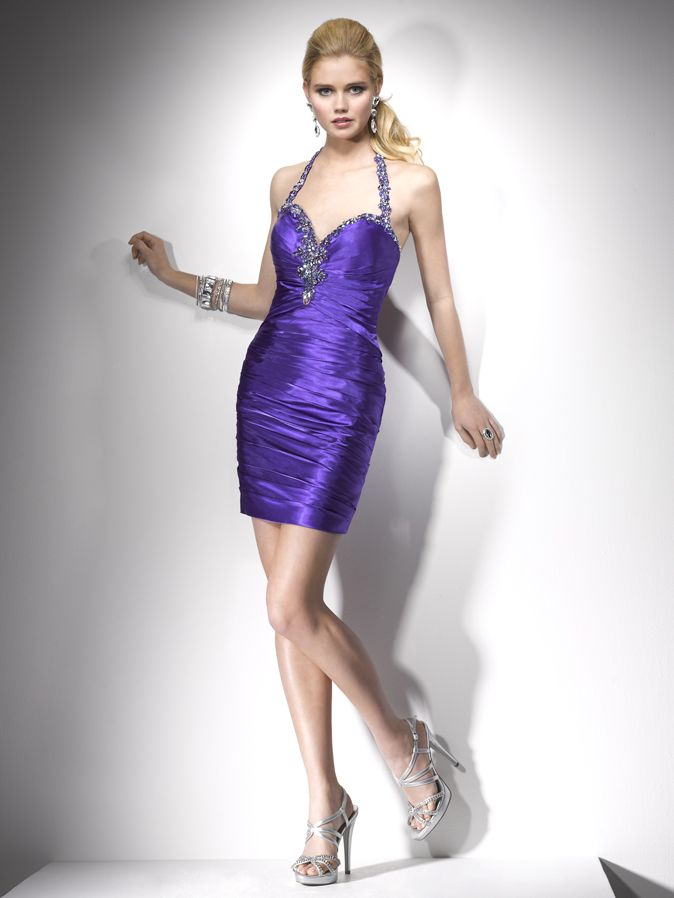 A-line Halter Neckline Beaded Strap Pleated satin Homecoming Dress-soh0036,  $192.95