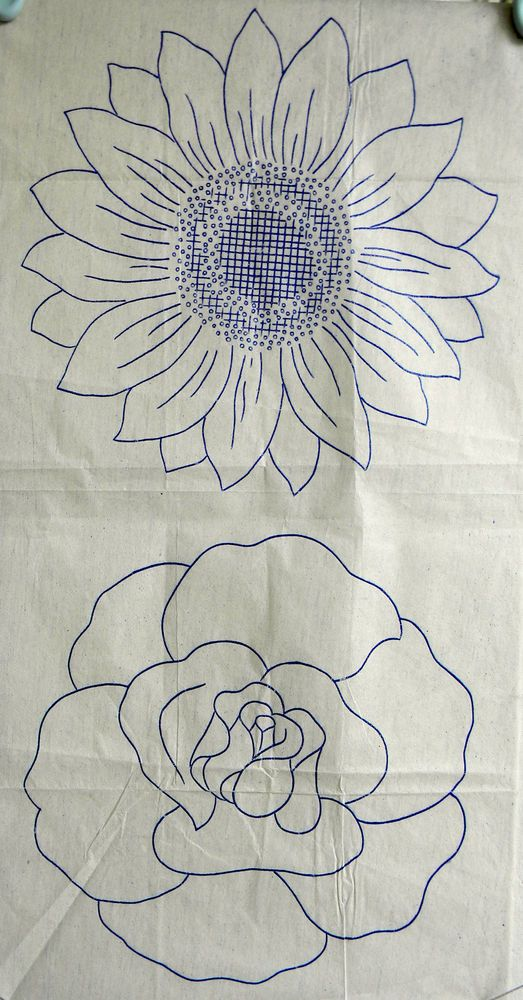 Vintage embroidery transfer - 2 large flower heads -rose & sunflower ...