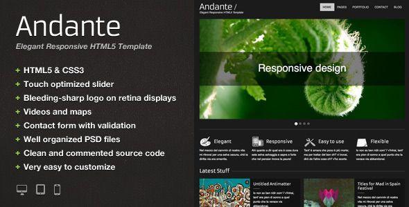 Andante \u2013 Elegant Responsive HTML5 Template Template, Logos and - html5 template tag