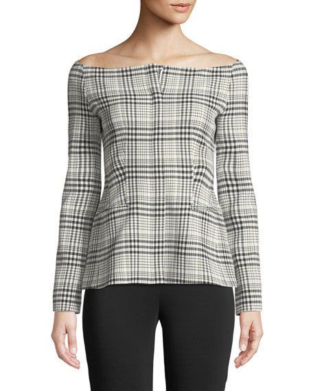 5ea5d21710 Off-the-Shoulder Long-Sleeve Brea Check Jacket by Theory at Neiman Marcus