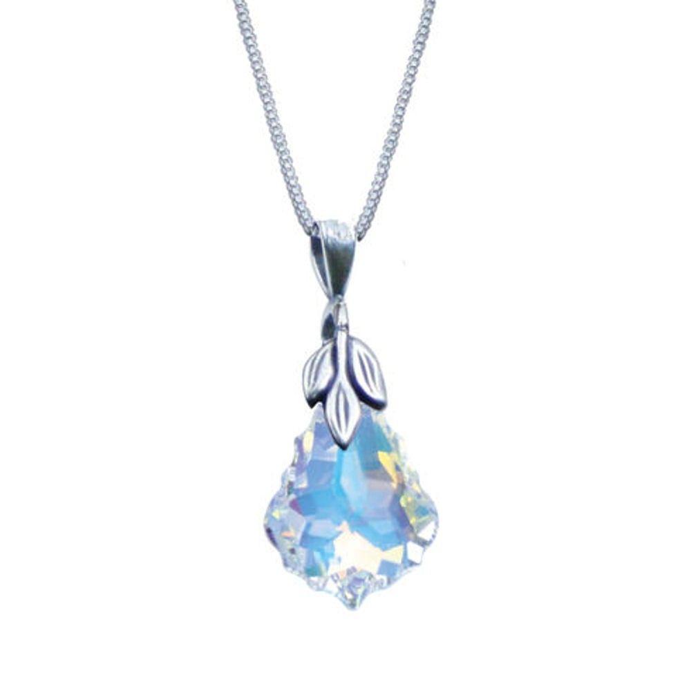 cd4317dbf Baroque Aurora Borealis Swarovski Crystal Sterling Silver Pendant Necklace