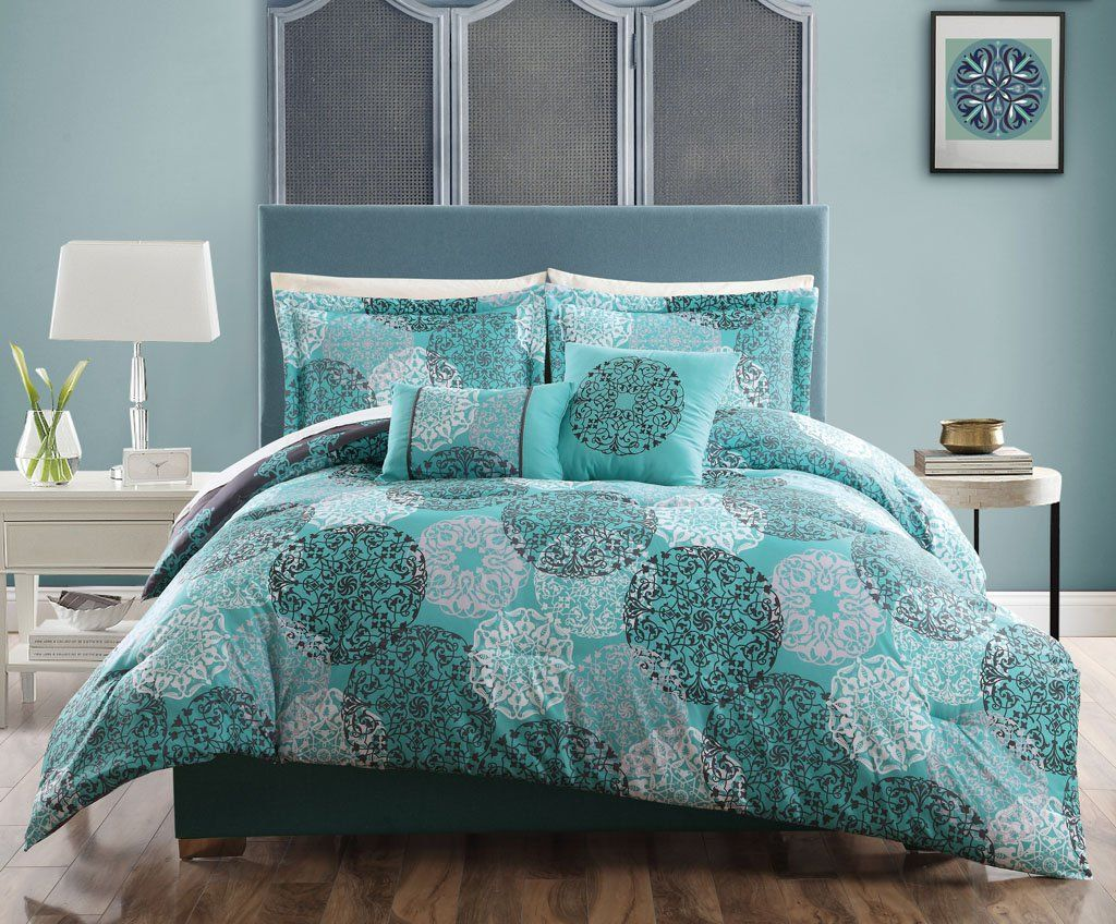 5 Pc Teal Blue Gray White Queen Comforter Circle Medallion Floral