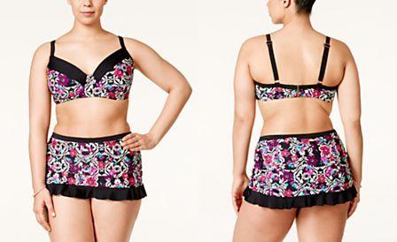 c084723721a Jessica Simpson Plus Size It Girl Printed Underwire Bra Bikini Top   It Girl  Printed Skirted