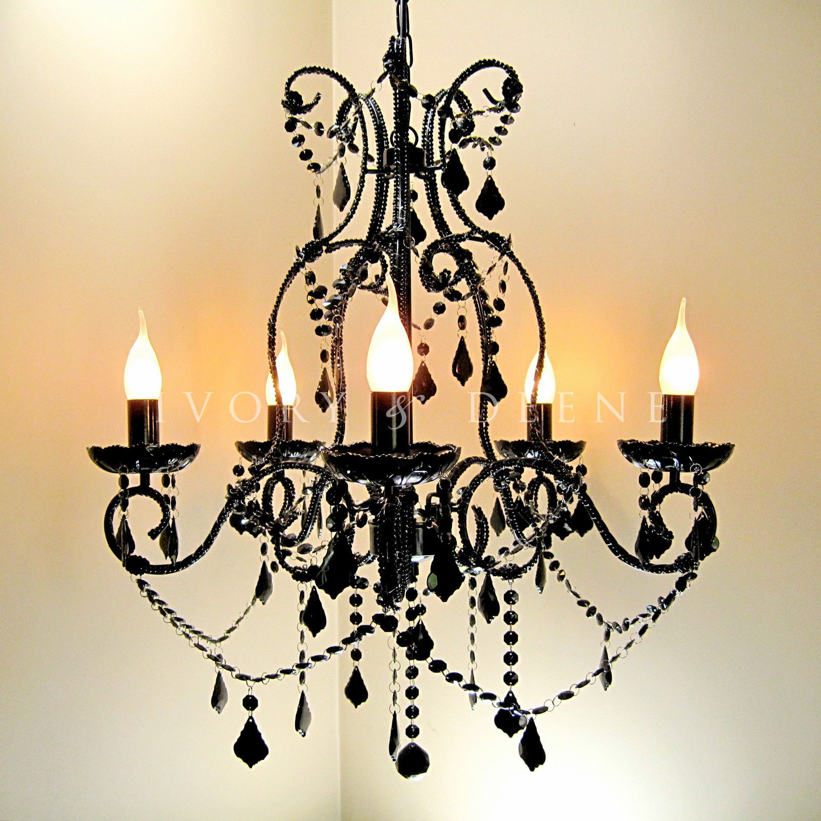 Black Chandelier 5 Arm French Provincial Style Acrylic Crystals