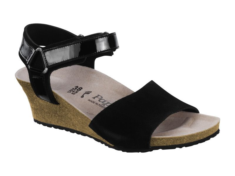 5ac87a38bc1 Love Birkenstock Eve Suede Leather   PVC in Black (Papillio Wedge Heel - Suede Lined