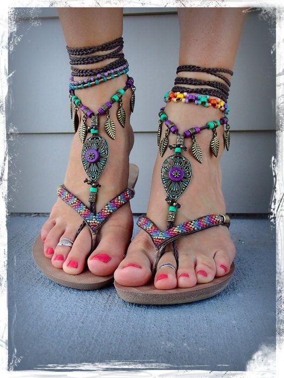 pieds nus, des sandales pourpre pourpre pourpre fées vert forêt tribal grelots 475462