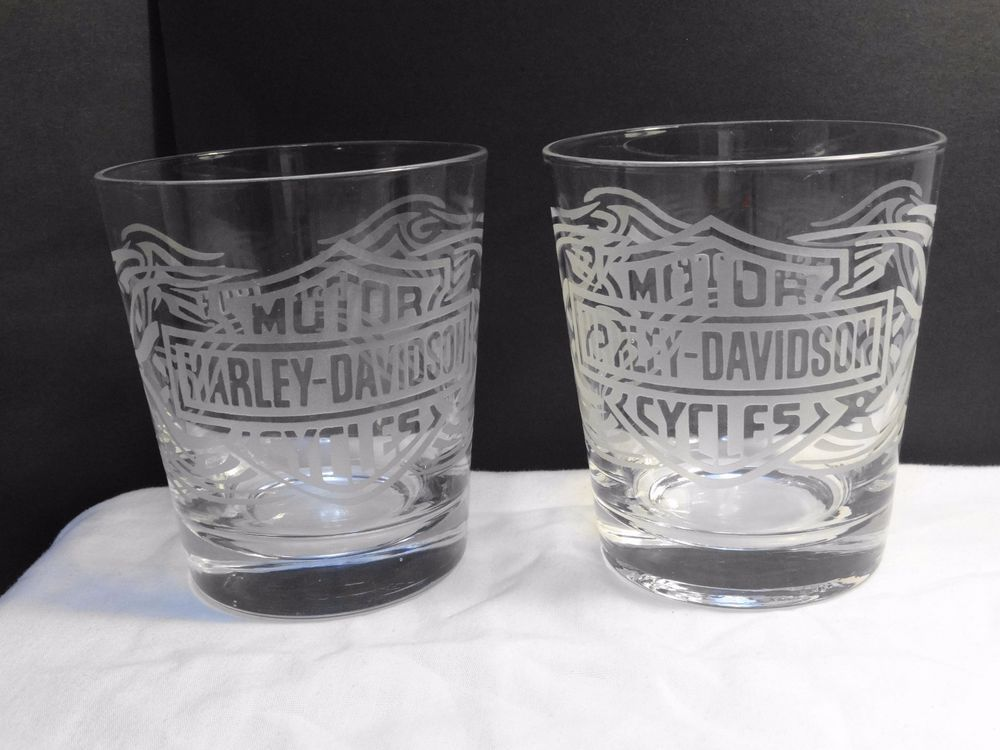 Harley Davidson Motorcycles Etched Frosted Drinking Glasses Pair 12oz Drinking Glasses Glass Drinking Glasses Harley Davidson