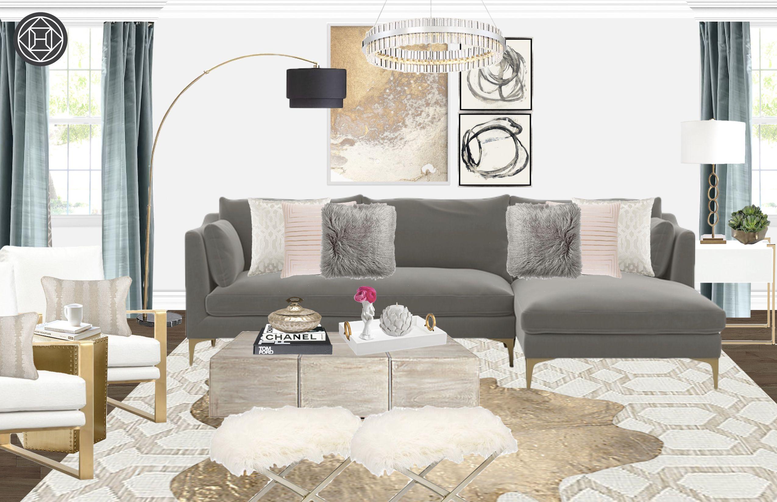 Contemporary, Glam Living Room Design by Havenly Interior Designer ...