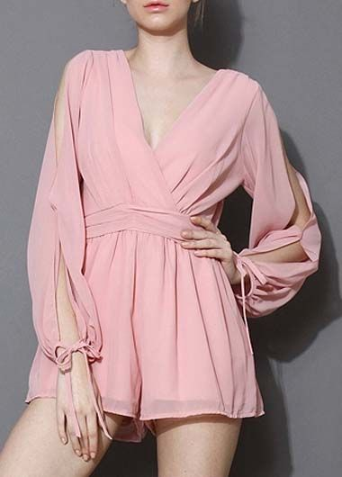 5e965f27152 Fascinating V Neck Long Sleeve Cutout Pattern Pink Rompers