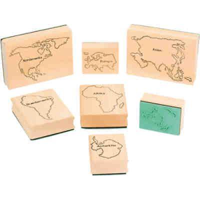 Stempel Weltkarte, 7 Stück