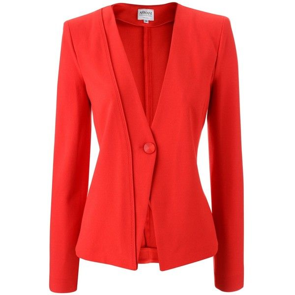 Armani Collezioni Coral Red Jacket Cleo ($780) ❤ liked on Polyvore