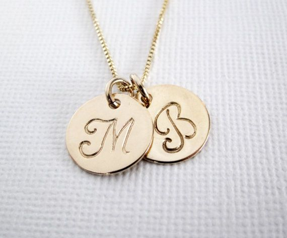 Gold Initial Necklace  Two Letter Charms by PatriciaAnnJewelry, $42.50