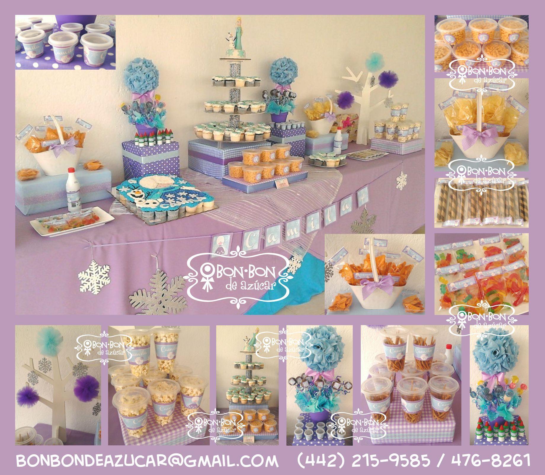 Mesa de snacks dulces y cupcakes con tema de frozen para cumplea os de ni a art culos para Mesa de cumpleanos infantil