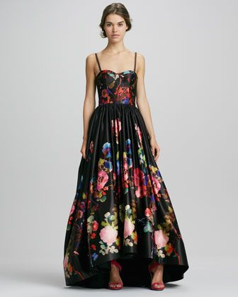Alice Olivia Addie Floral Print High Low Gown Neiman Marcus