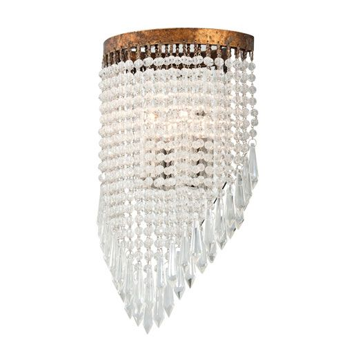 Le Marais Gold Leaf and Distressed Wood Two Light Wall Sconce with Crystal Glass