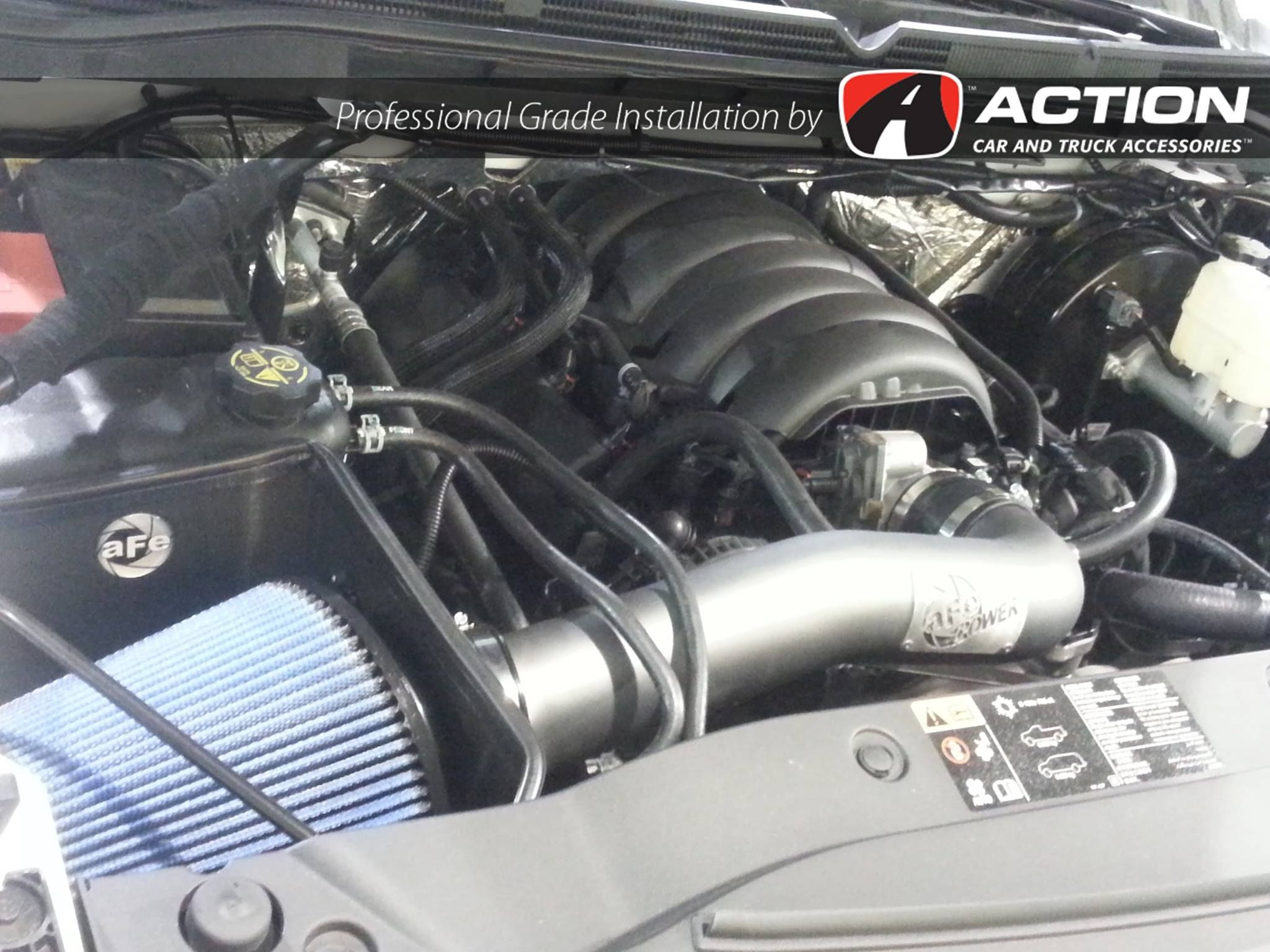Cold air intake by aFe POWER Installed in a 2016 GMC
