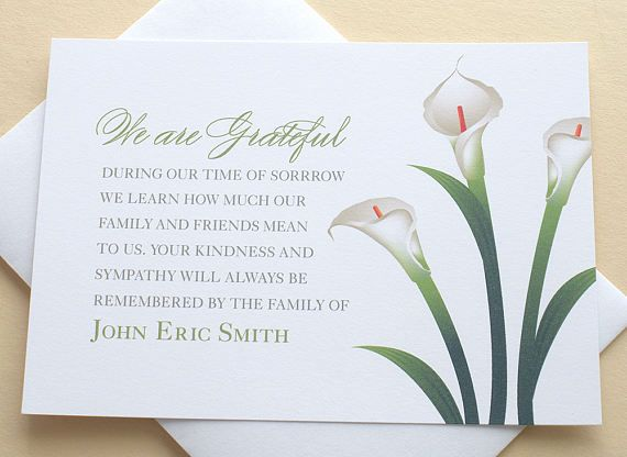 Sympathy Thank You Cards With White Lilies Personalized Flat