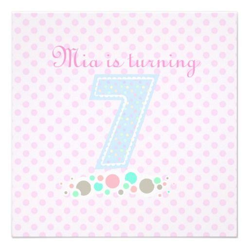 Pink & Blue Polka Dot 7th Birthday Invitation