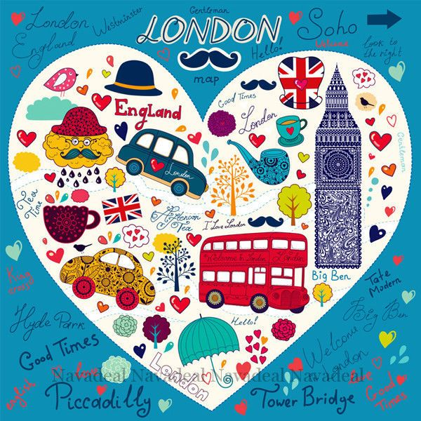 London Bus Tower Bridge Big Ben Kids Room Cartoon Art Decor Canvas Wall Poster | eBay