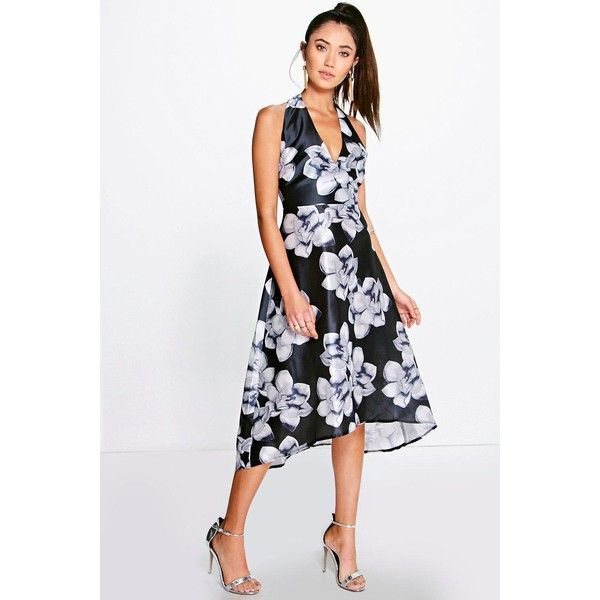 Boohoo Night Taylor Floral Sateen Halterneck Skater Dress ($44) ❤ liked on Polyvore featuring dresses, black, sequin maxi dress, floral skater dress, maxi dress, sequin skater dress and skater dress