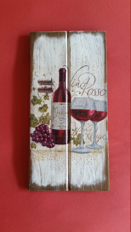 Vino Wall Sign Red Wine Decor Red Wine Sign Italian Restaurant Decor Wine Glasses Decor Vino Rosso Wall Sign Decoupage V Wine Decor Wine Signs Crab Decor