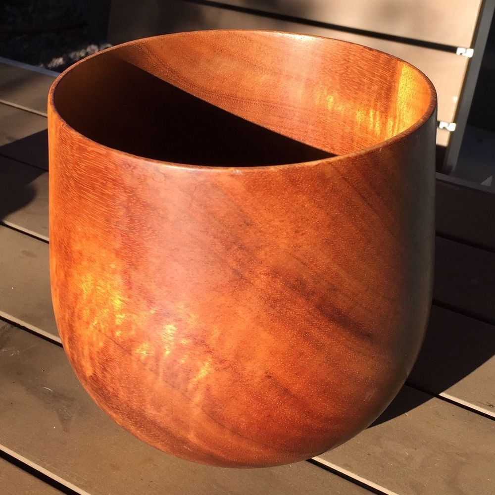 Jack Straka Hawaii Koa Wood Bowl Vase Dan Deluz Modern Mid Century Vintage Art | eBay