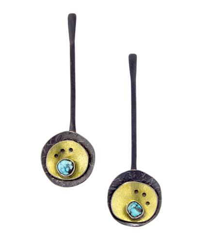 Circling The Blue Moon Earrings by Lynn Harrisberger One-of-a-kind, asymmetric earrings featuring rare, Natural, Blue Moon Turquoise from Nevada, 18kt Gold Bi-Metal and Oxidized Sterling Silver.