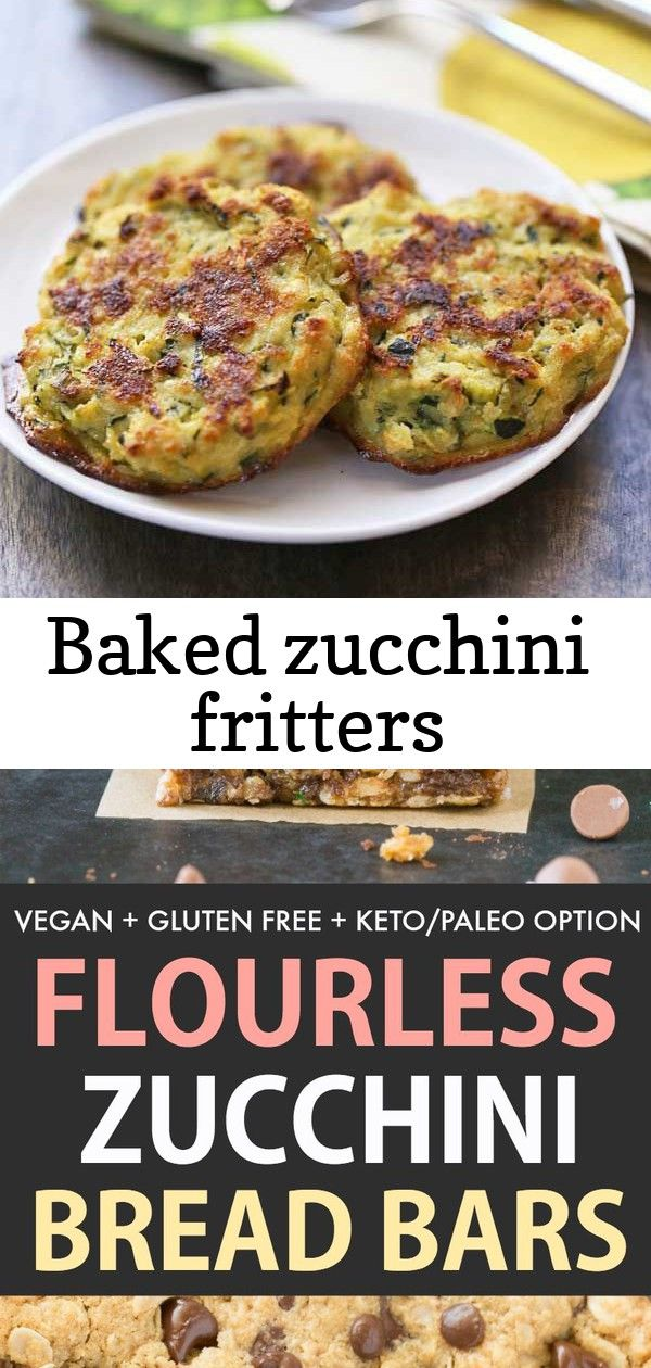 Baked zucchini fritters Tasty zucchini fritters are baked rather than fried They are healthy delicious low carb and gluten free Zucchini Chocolate Chip Bars which are moi...