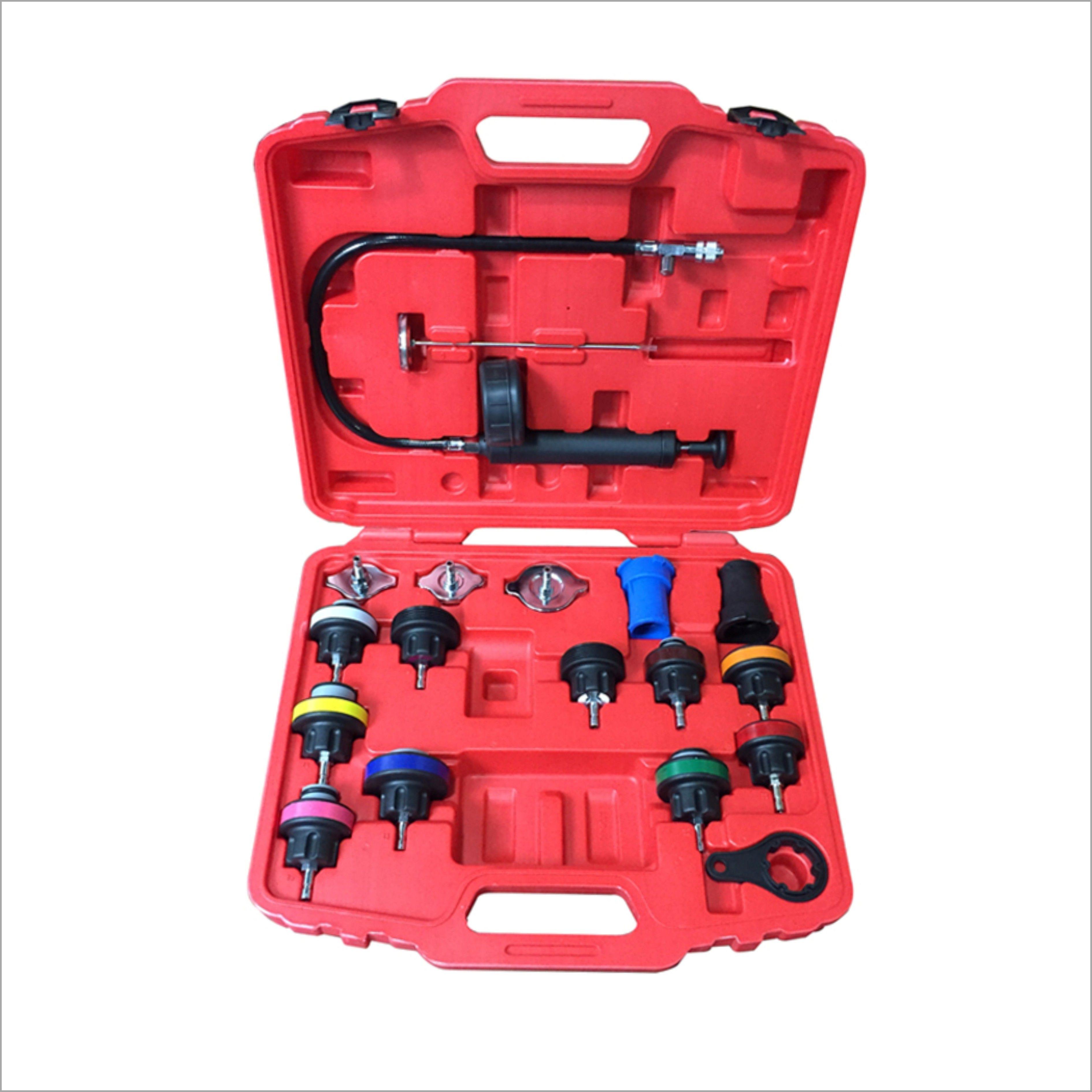 18pcs Universal Radiator Pressure Tester Kit Car Water Tank Leak