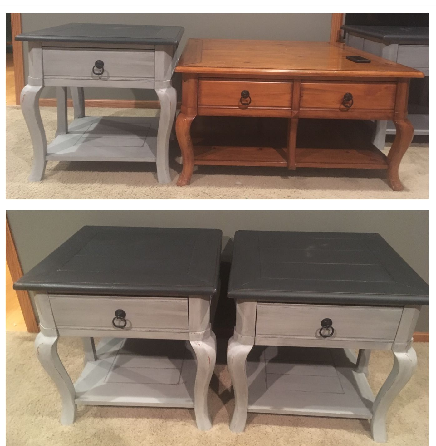 Refinished End Tables Used Gray Chalk Paint On The Bottom Charcoal Chalk Paint On Painting Wood Furniture Refinished End Tables Black Chalk Paint Furniture