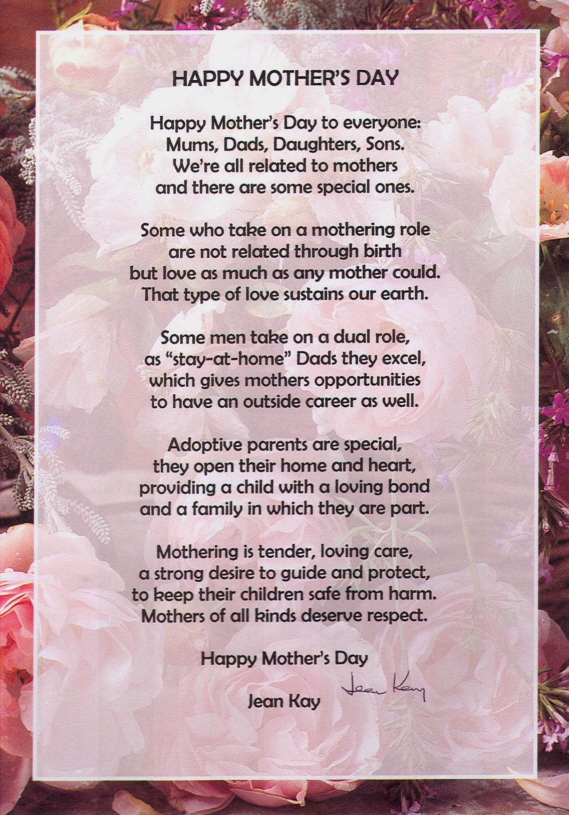 Happy Mothers Day Poem By Jean Kay Happy Mothers Day Poem Mothers Day Poems Happy Mother Day Quotes