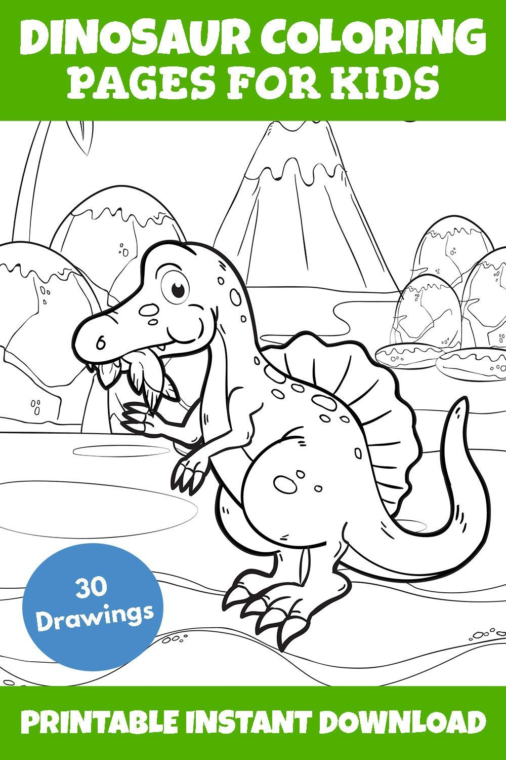 Cute Dinosaur Coloring Printable Pages For Kids Toddlers Fun Creative Activities For Children Dinosaur Coloring Pages Dinosaur Coloring Coloring Books