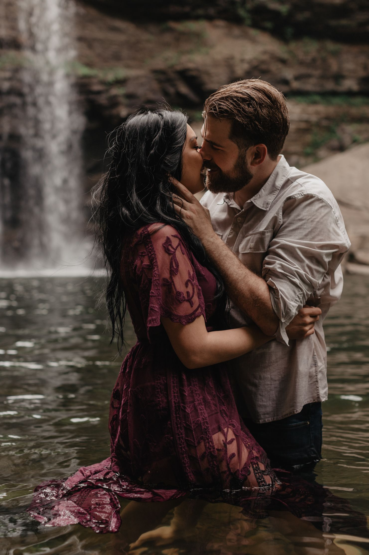 Waterfall Engagement Session At Greeter Falls In Middle Tennessee