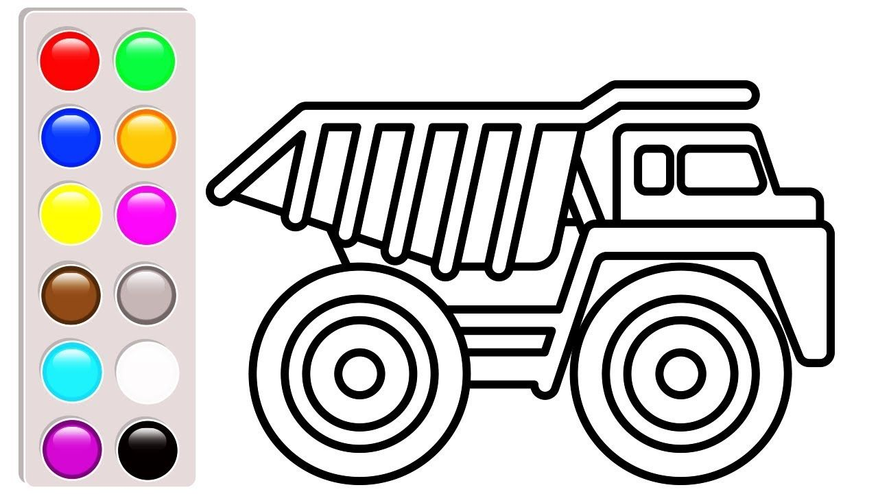 Car and Construction truck coloring pages, dump truck coloring book ...