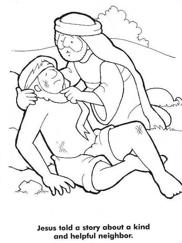 good samaritan story from jesus coloring page - Good Samaritan Coloring Pages