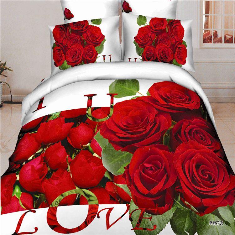 Love you 3d red roses green leaf white bedding set 100% cotton 4pcs wedding home bedclothes duvet/blanket cover bed set/3434