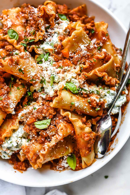 Turkey Bolognese Sauce Lasagna Toss | foodiecrush.com