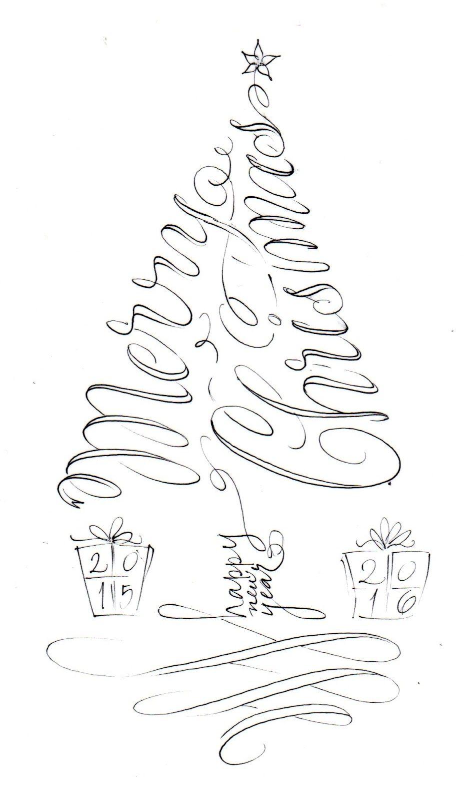 pushing the envelopes tree calligram … Christmas