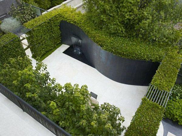 Modern Landscape Design Patio Curved Wall Hedge Plants Garden Dividers