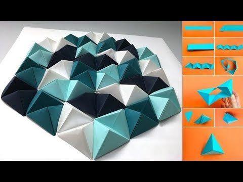 diy dekorasi ruangan dengan kertas origami motif poligon