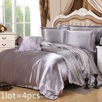 4 Pcs Pure Color Double Sided Natural Silk Bedding Sets