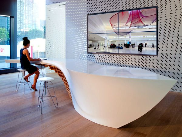 Innovative table design for reception room the anchor for Innovation firm los angeles