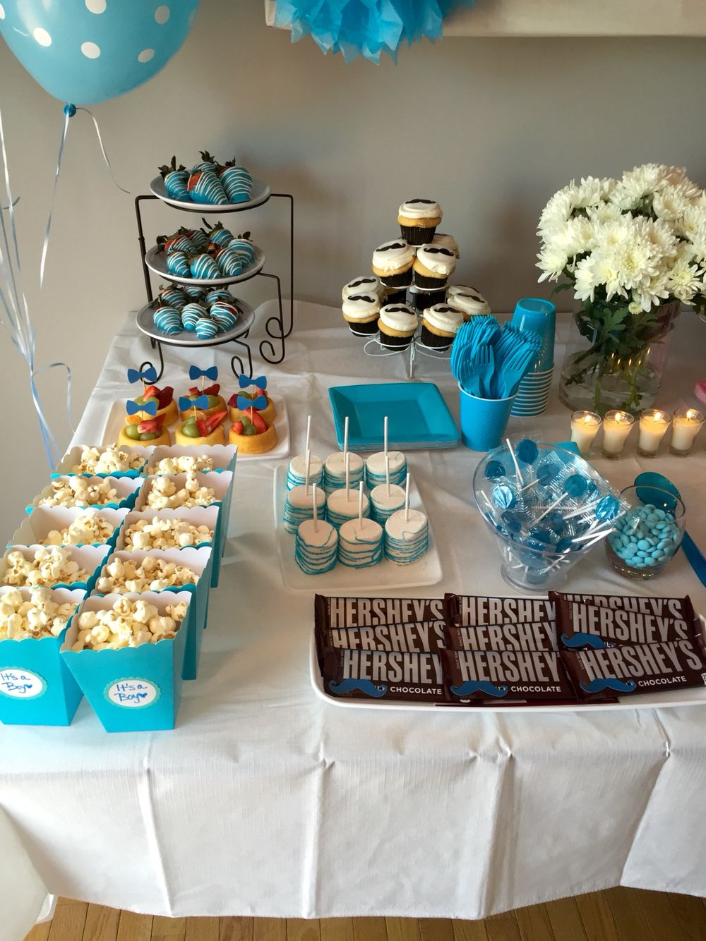 Boy Side Of The Snack Table Gender Reveal Baby Shower Blue Party