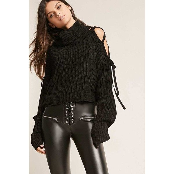 27c92c9f6f Forever21 Lace-Up Turtleneck Sweater ( 38) via Polyvore featuring tops