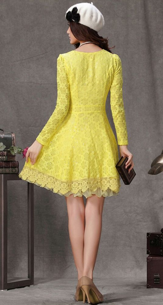 Yellow Long Sleeve Flower Lace Pleated Dress - abaday.com  99a60785c